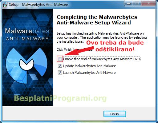 Malwarebytes Anti-Malware - instalacija
