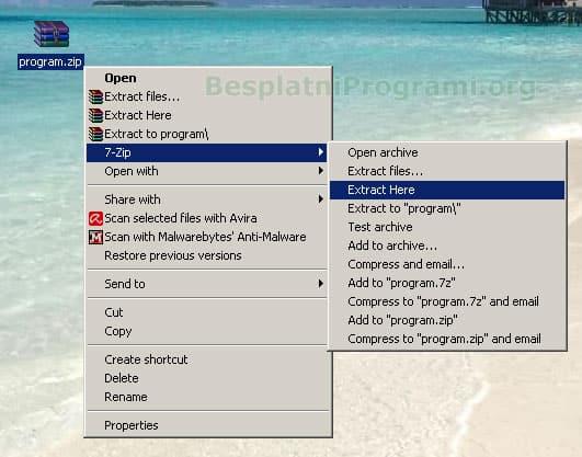 Raspakivanje ZIP fajla pomoću 7-ZIP arhivera