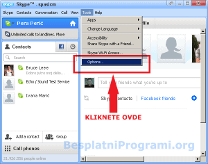 Skype opcije