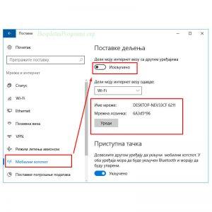 Windows 10 Hotspot Postavke
