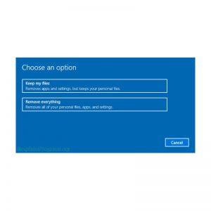 Windows 10 prikaz opcija za resetovanje sistema