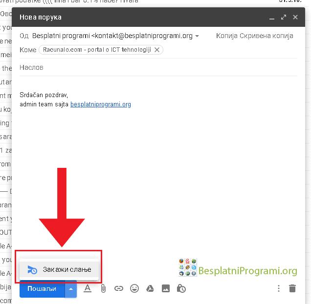 Gmail laptop - desktop zakaži slanje mejla